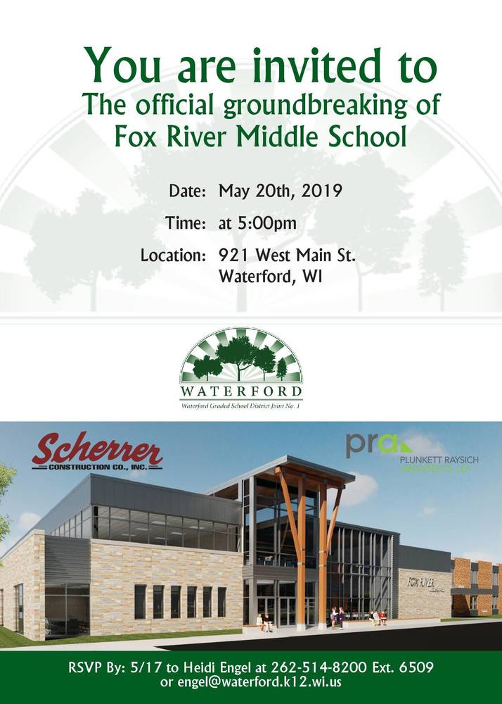 Invitation to the Official Groundbreaking of Fox River Middle School