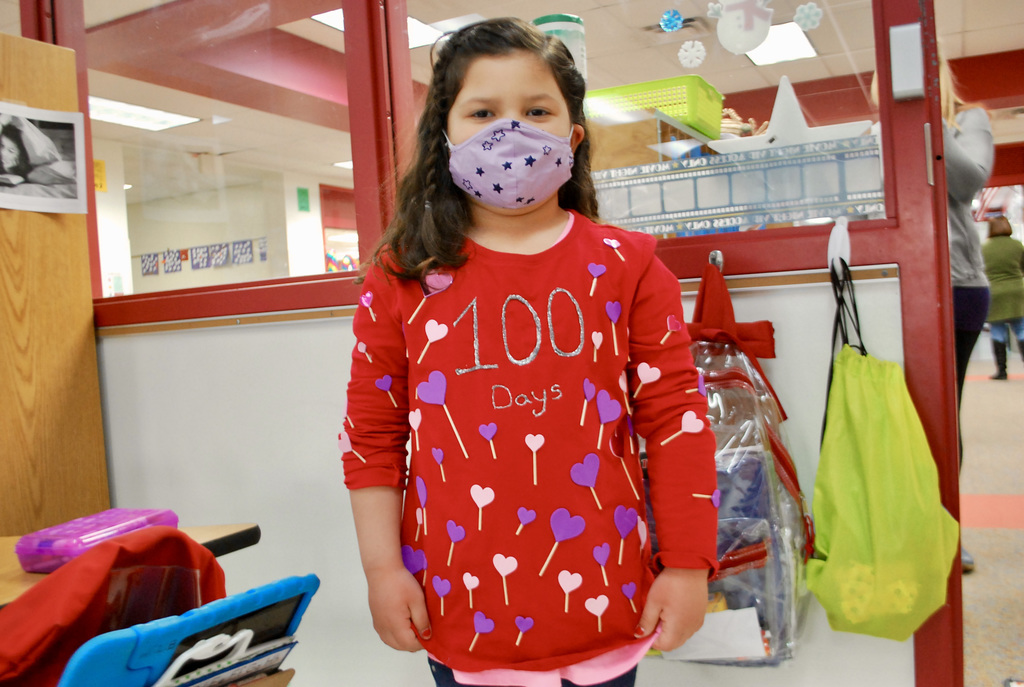 Wear 100 items on your shirt for 100 days of school.