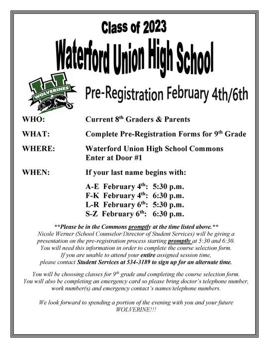 Pre-Registration Flyer