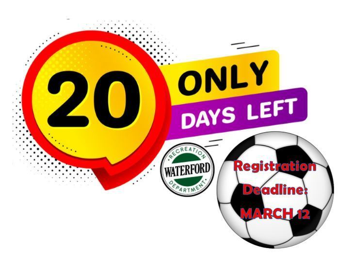 20 Days left to register for spring soccer